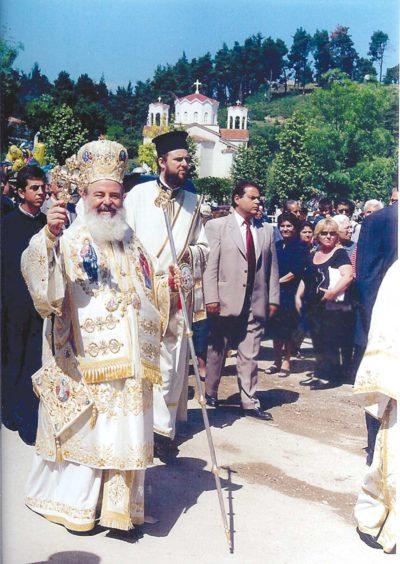Ο Μακαριστός Αρχιεπίσκοπος Αθηνών και πάσης Ελλάδος Χριστόδουλος προεξάρχει της πανηγύρεως του 2002